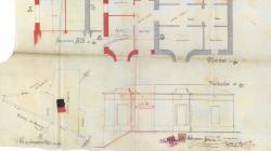 Plànol de façana, planta, secció i emplaçament de la ampliació dels baixos a Torrent del Remei.