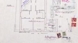 Plànol de façana, planta, secció i  emplaçament d'una casa al carrer Marià Labèrnia 49-51