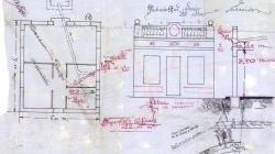 Plan of the facade, floor, section and site of a house at Carrer Marià Labèrnia 20. 1927