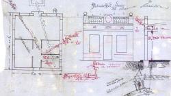Plànol de façana, planta, secció i  emplaçament d'una casa al carrer Marià Labèrnia 20.