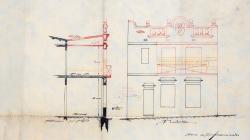 Plànol de façana, planta, secció i  emplaçament d'una casa al carrer Renaixement 78.