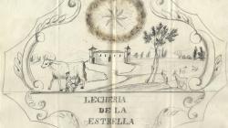 Rètol d'una vaqueria al carrer Tapineria. 1855