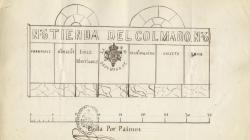 Rètol d'una botiga de  queviures al carrer Escudellers. 1860