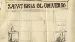 Rètol d'una sabateria a la Rambla Nova. 1855