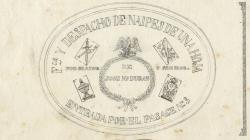 Rètol d'una fàbrica i despatx de cartes al carrer Dormitori Sant Francesc. 1858