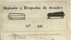 Rètol d'un dipòsit i despatx de taüts al carrer Pau. 1860