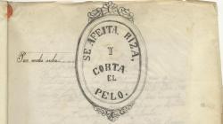 Rètol d'una perruqueria a la Rambla Centre. 1860