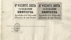 Rètol d'un sagnador dentista al carrer Clavaguera. 1860