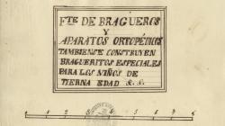 Rètol d'un fabricant de braguers i aparells ortopèdics al carrer Hospital. 1860