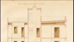 Plànol de secció als carrers Santa Ana i Rambla de Canaletes de la casa de Pedro Molins