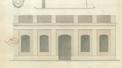 Plànol de façana, planta i secció de la casa al carrer Copons 4