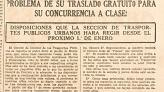 Press cutting announcing new provisions allowing primary school students up to age 14 to travel free of charge on urban transport. Solidaridad Obrera, (Worker Solidarity) 18 December 1937.