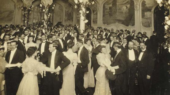 Black and white photo of a gala ball at the Maison Dorée