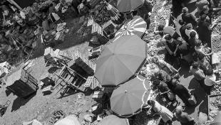 Foto en blanc i negre. Es veuen parades de fruita al carrer amb para-sols i gent