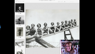 Es veu la pantalla d'ordinador amb una foto de l'Arxiu i la persona que fa el taller