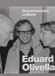 Portada del catàleg on es veu retratats Tarradellas, Portabella i Annié Settimó