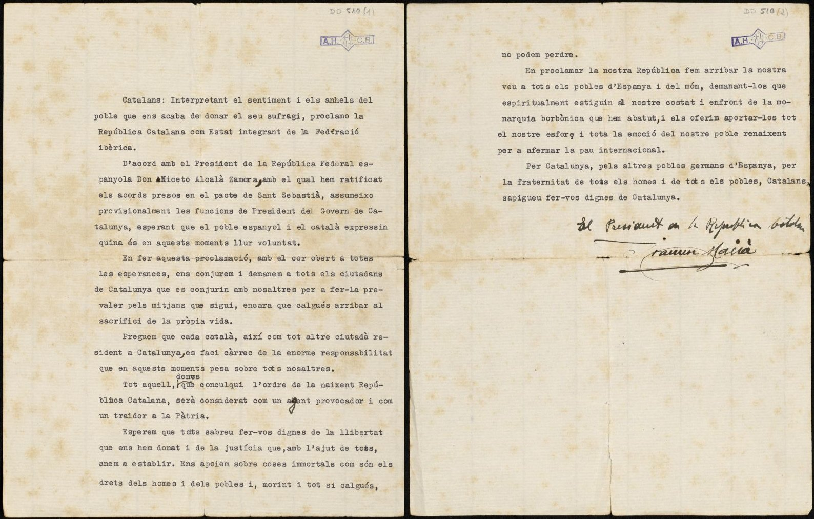 Mecanoscrit signat pel president Francesc Macià, del text de la seva al·locució des del balcó del palau de la Generalitat, en la que proclama la República catalana el 14 d'abril de 1931