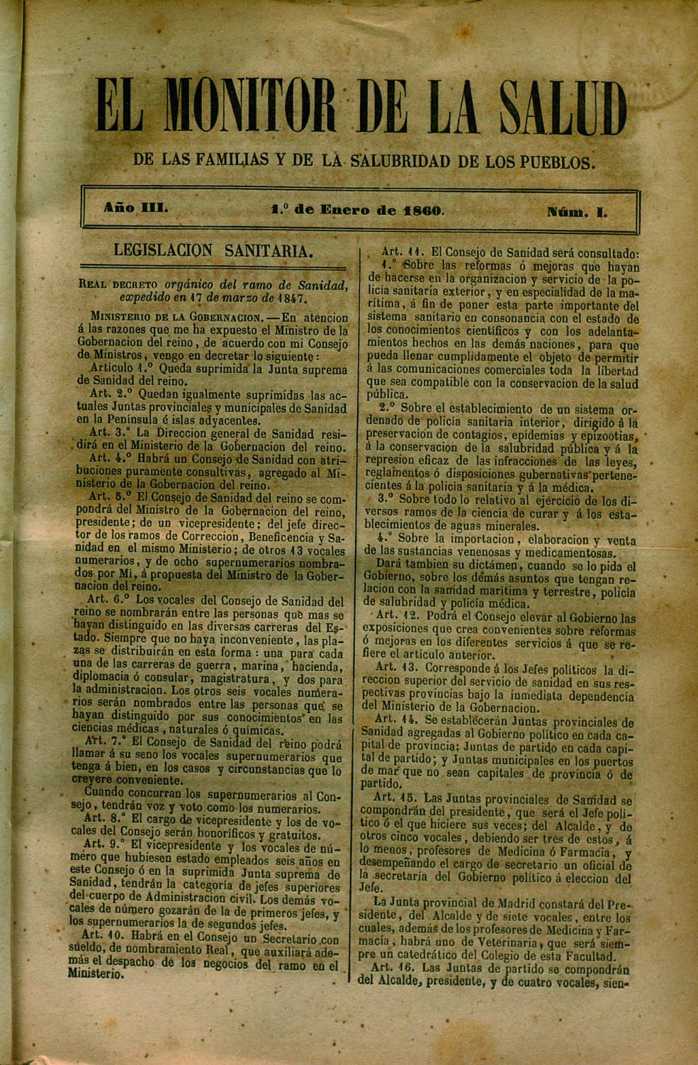 El Monitor de la salud de las familias y de la salubridad de los pueblos: revista de higiene pública y privada (1860-1863)