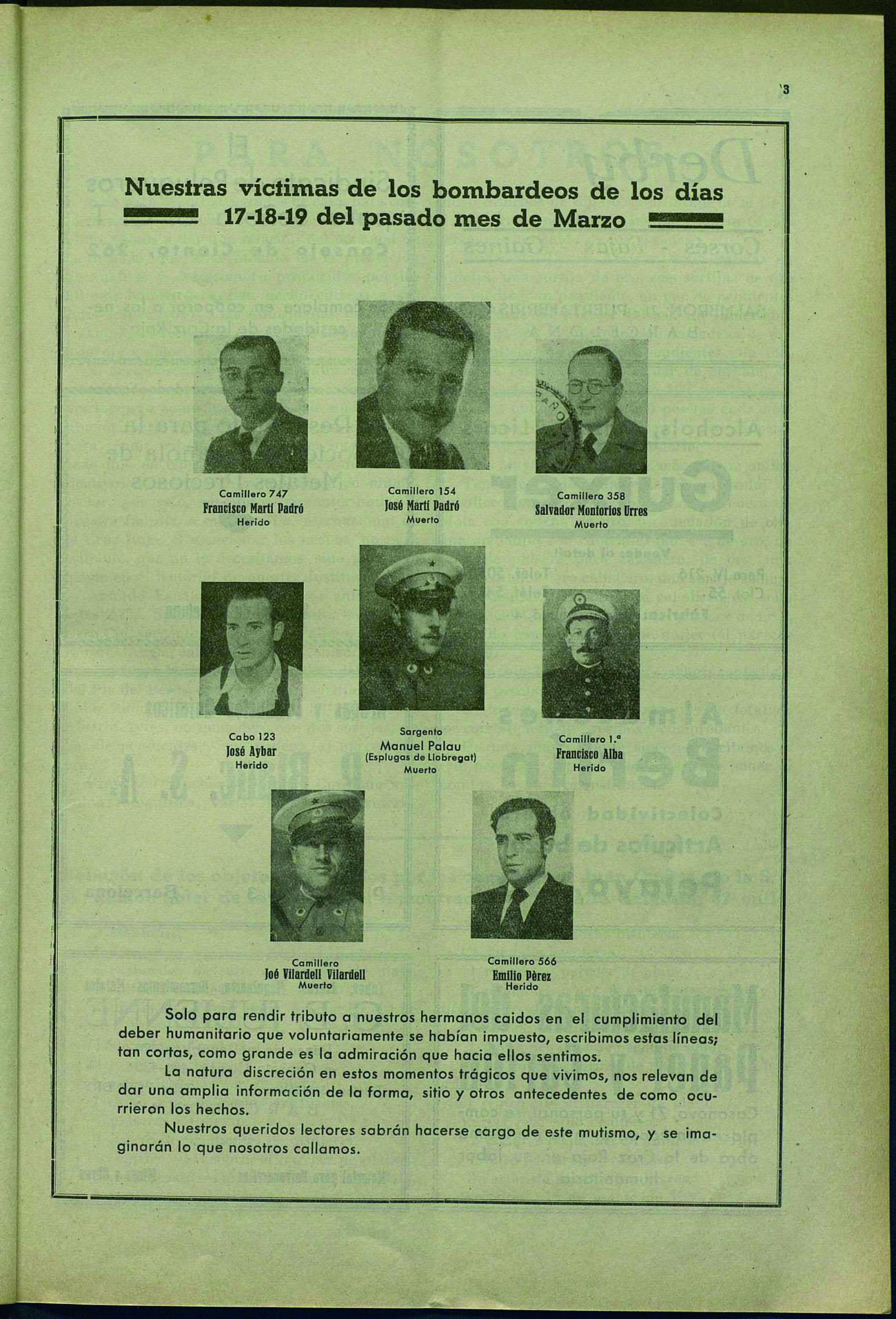 Boletín oficial de la Brigada no. 1 de la Cruz Roja. Núm. 219 (1 abril 1938), p. 15