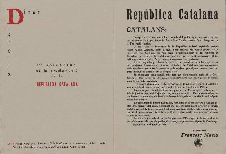 Menú, corresponent al restaurant Catalunya i datat el 14 de abril de 1932, on se celebra el primer aniversari de la República catalana
