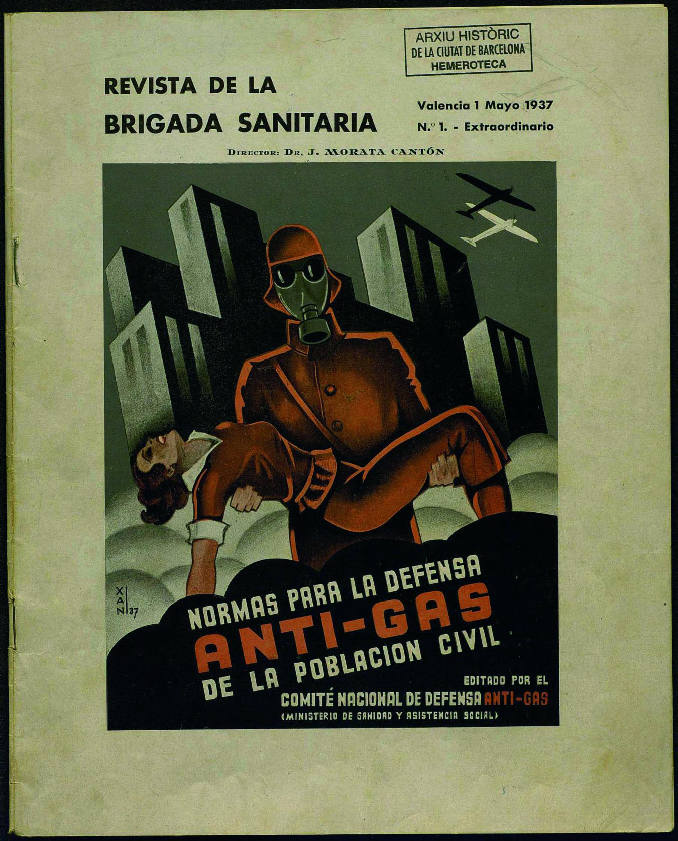 Revista de la brigada sanitaria: servicio anti-gas. Núm. 1 (1 mayo 1937) portada