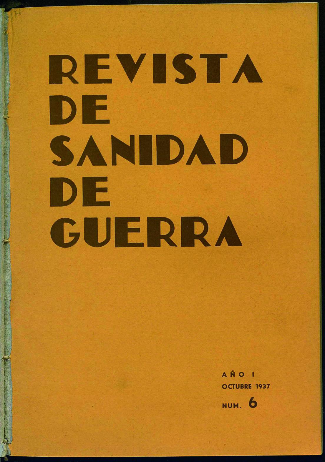Revista de sanidad de guerra. Núm. 6 (1 octubre  1937) portada