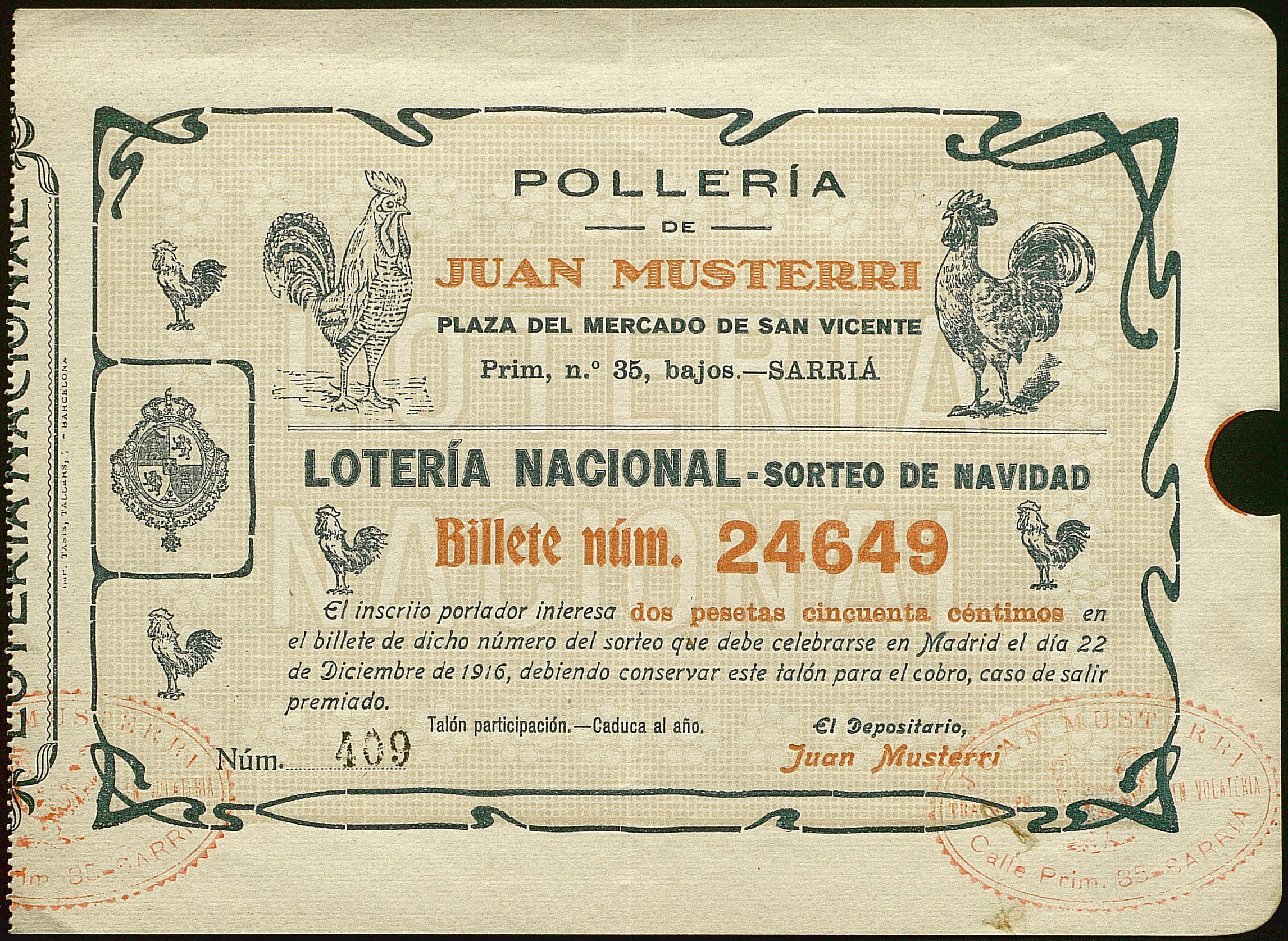 Participació de la loteria de l'any 1916. Amb decoracions d'uns galls