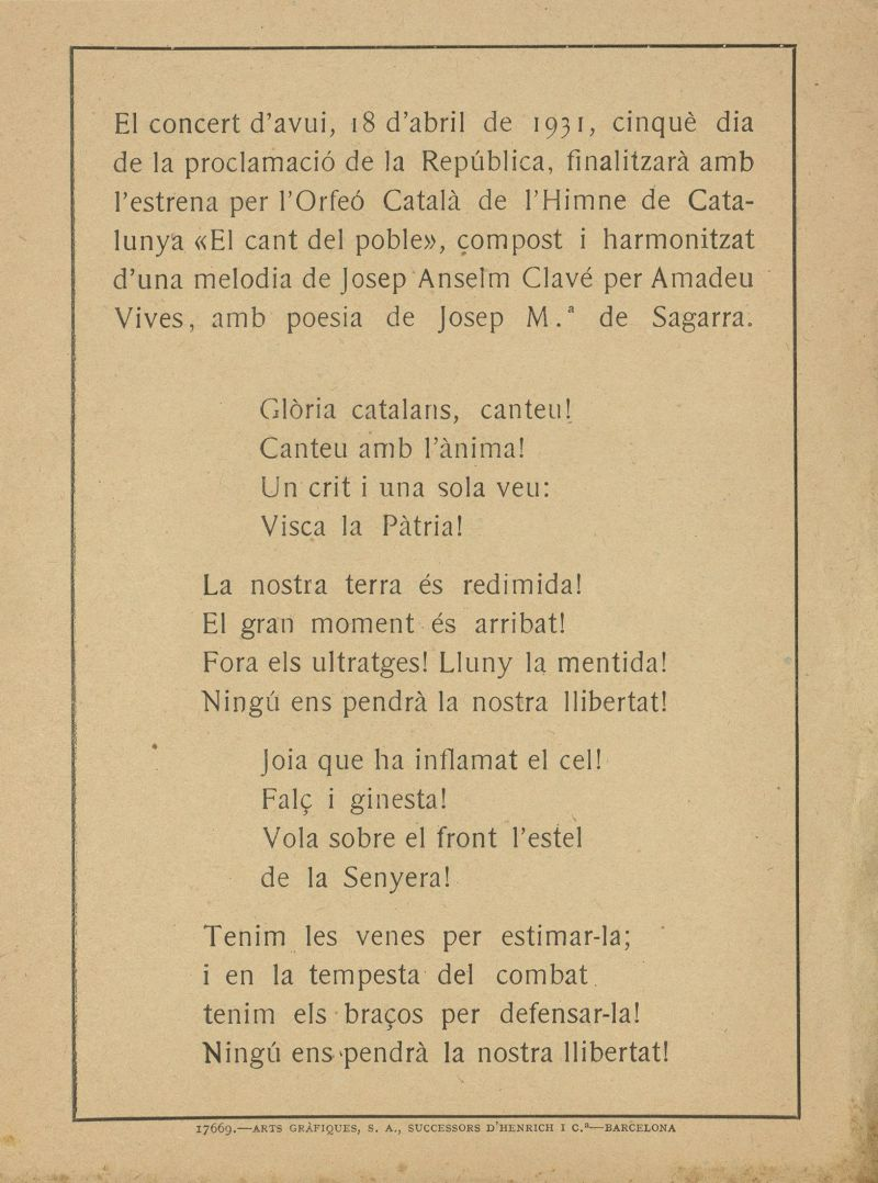"""Fulletó del concert, celebrat cinc dies després de la proclamació de la República, va finalitzar amb l'estrena per l'Orfeó Català de l'Himne de Catalunya """"El cant del poble"""""""