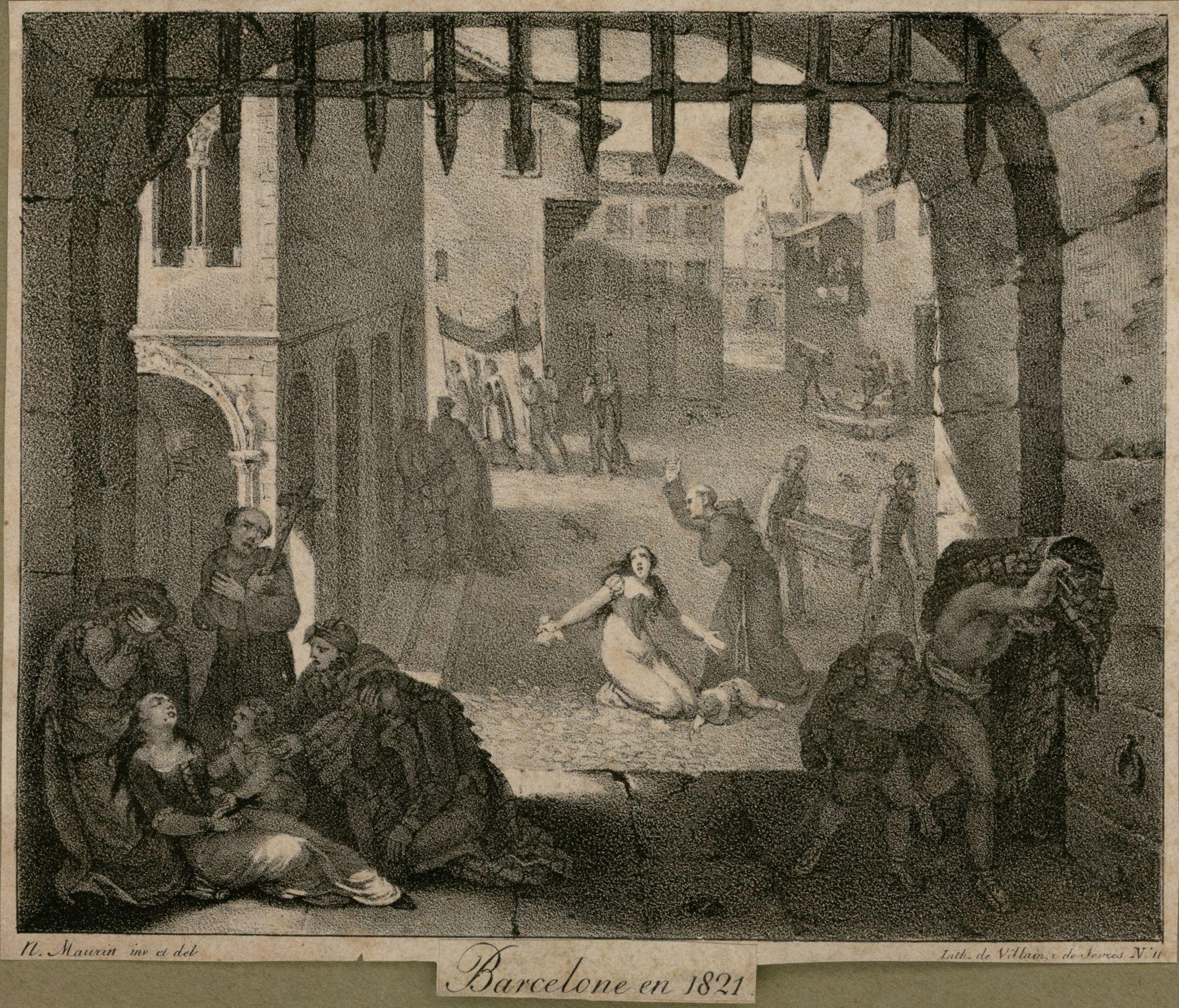 1821. Febre Groga. Aspecte de Barcelona amb els afectats. AHCB 04544