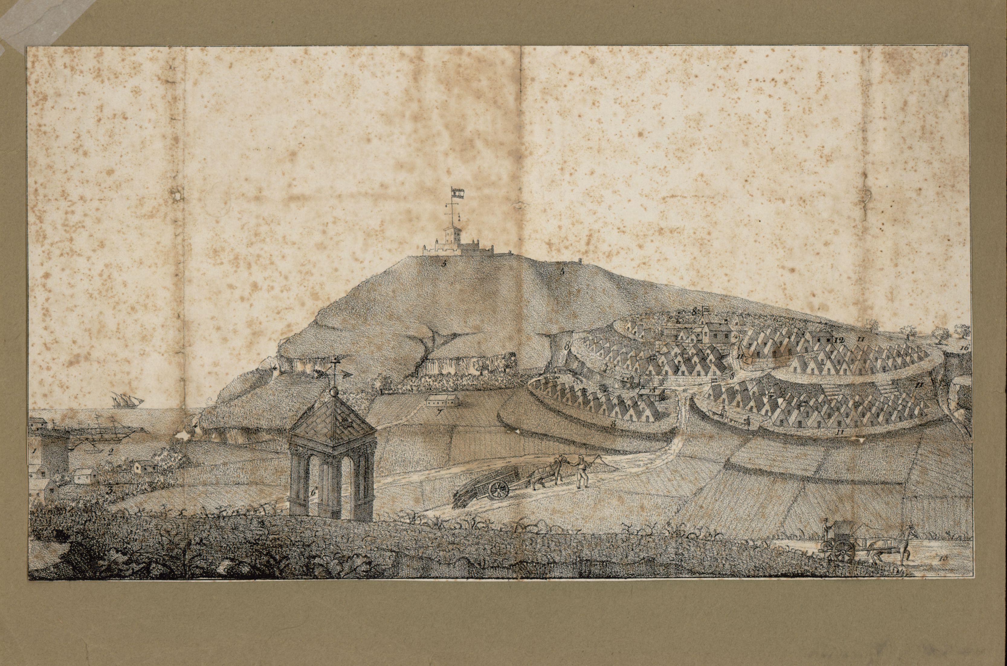 1821. Ciutat d'En Nyoca. Campament Sanitari a Montjuïc, vist des del Turó de la Vinyeta, amb la Creu Coberta. AHCB 04670