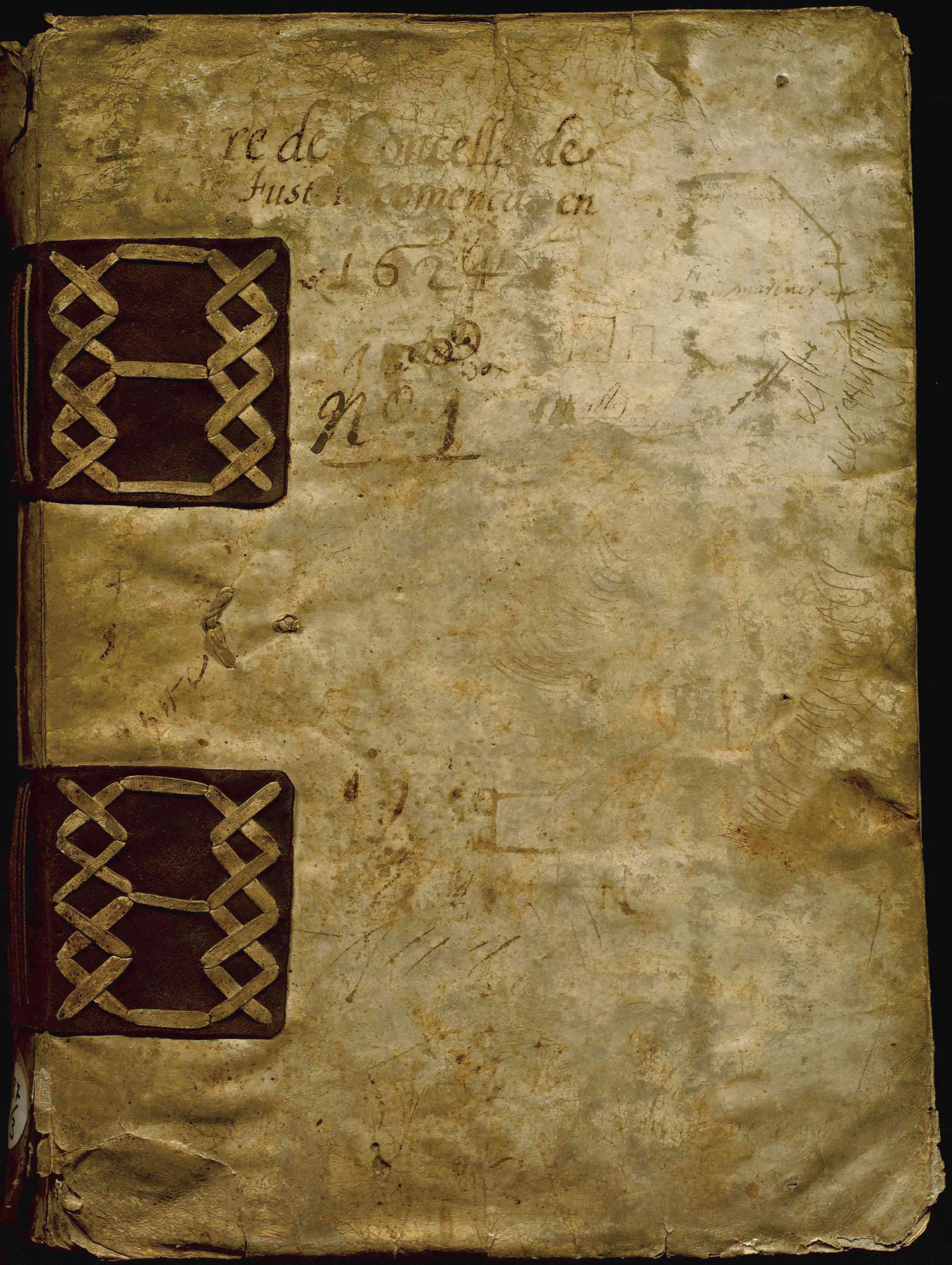 Llibre de consells de la Confraria de mestres fusters de Barcelona. Coberta. AHCB3-580/5D.142- 3 (1624)