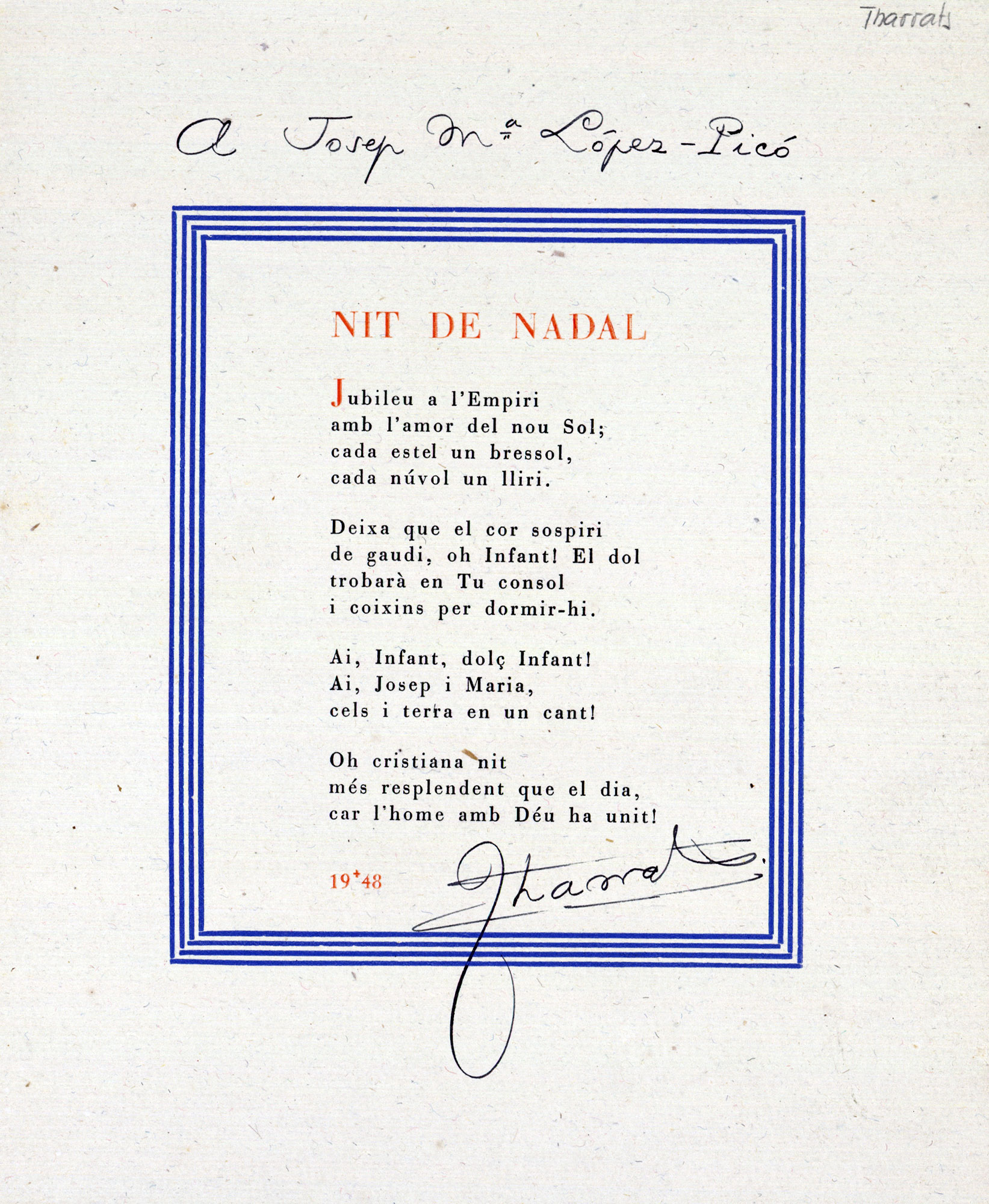 Página con el poema Nit de Nadal, del 1948, dedicado a José María López-Picó