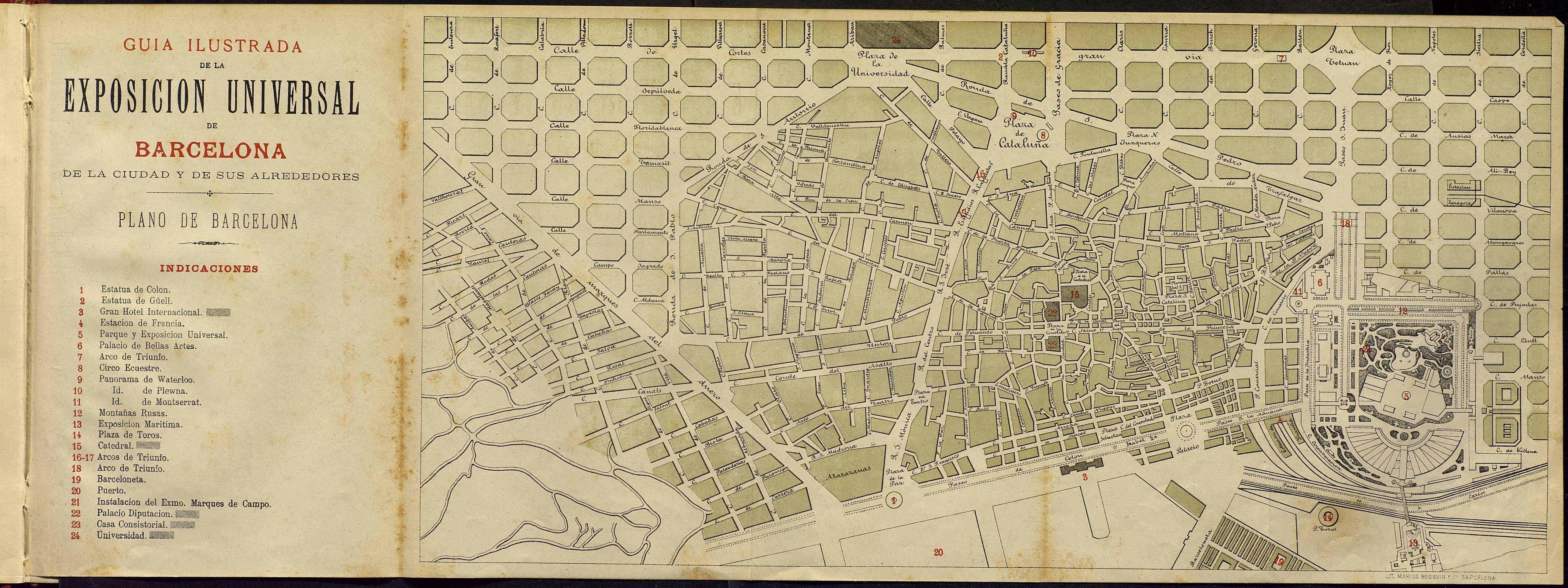 Plànol de la ciutat i del recinte de l'Exposició dins la Guía ilustrada de la Exposición Universal de   Barcelona en 1888. P. 8 bis.