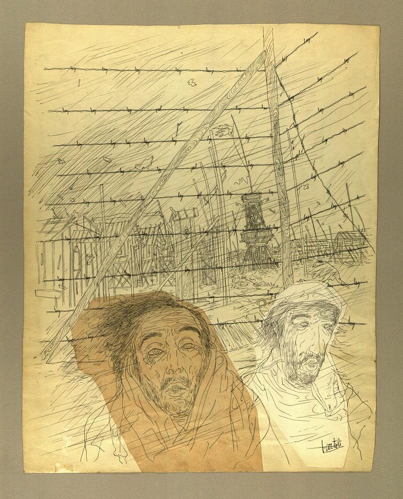 """""""Vida en el campo"""" Tinta i collage sobre cartolina 1939-44"""