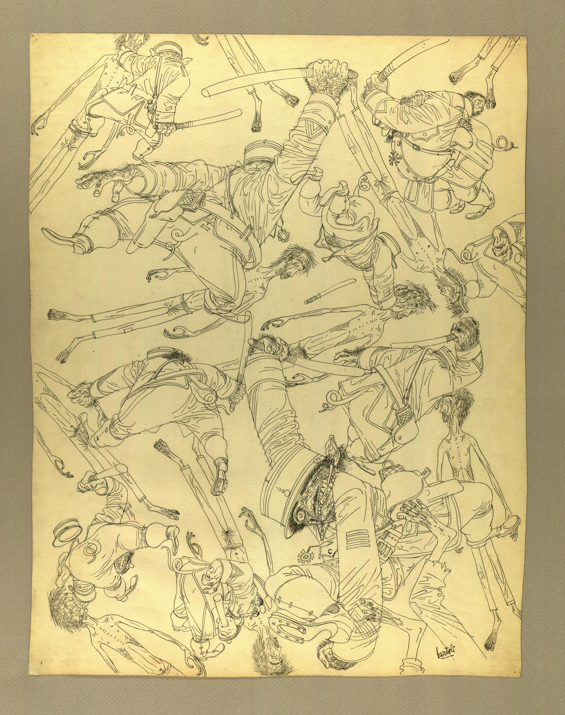 """""""Sus a l'espagnol"""" Tinta sobre cartolina 1939-44"""