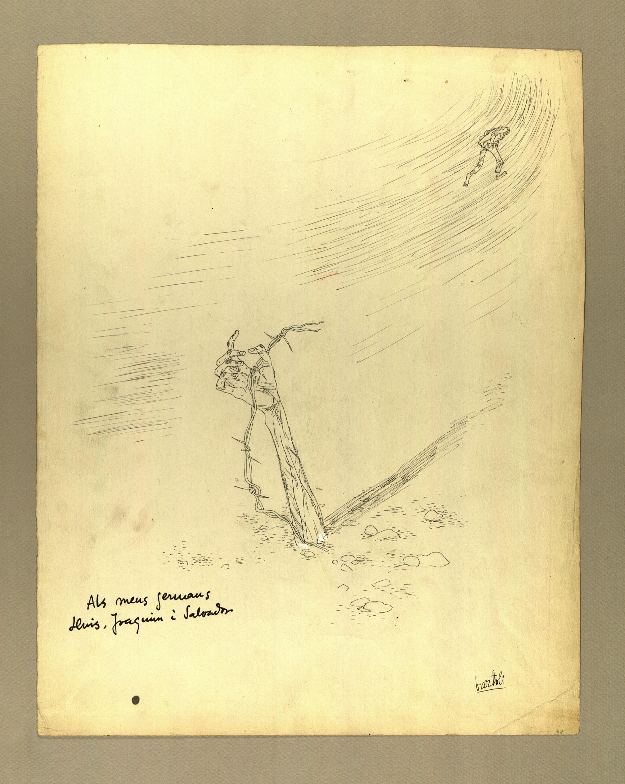 """""""Als meus germans"""" Tinta sobre cartolina 1939-44"""