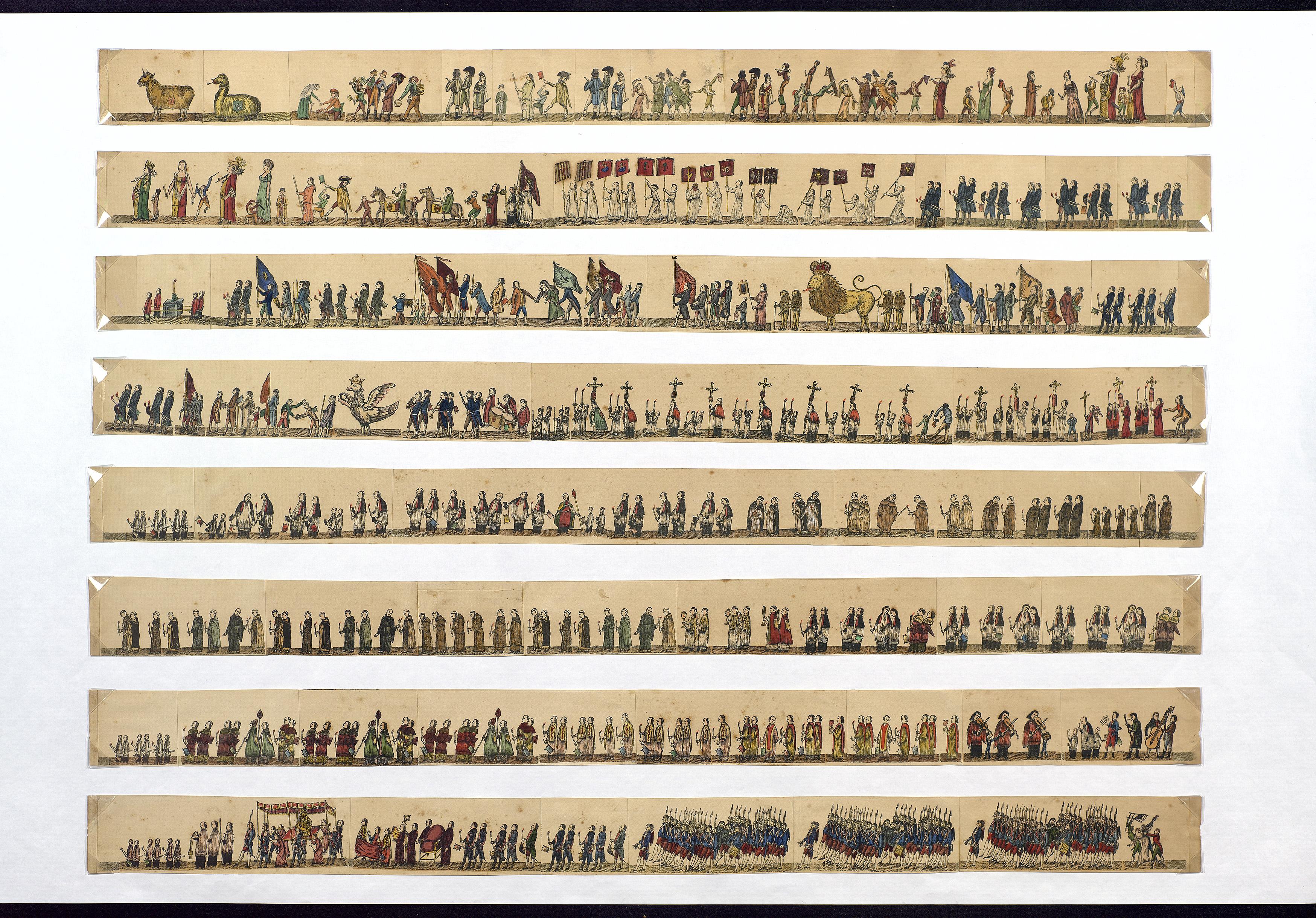 Full de rengle amb escenes de la processó de Corpus de la catedral al setcents.S'aprecia el bestiari espars, gegants i cavallets al segon rengle, confraries amb penons al tercer, l'àliga al quart, i la custòdia sota tàlem al vuitè. Referència AHCB 18597