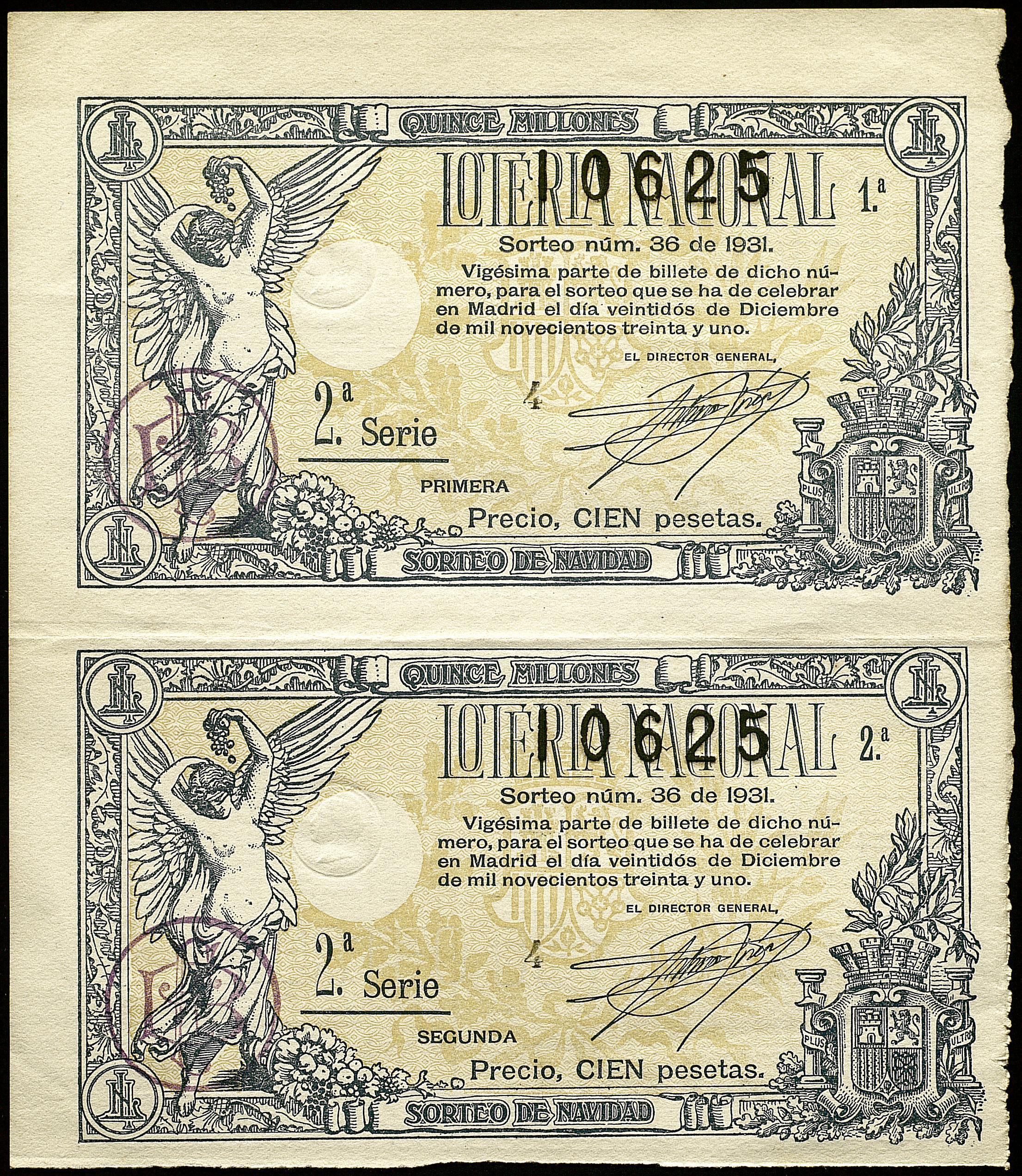 Dos dècims de loteria acolorits de l'any 1931