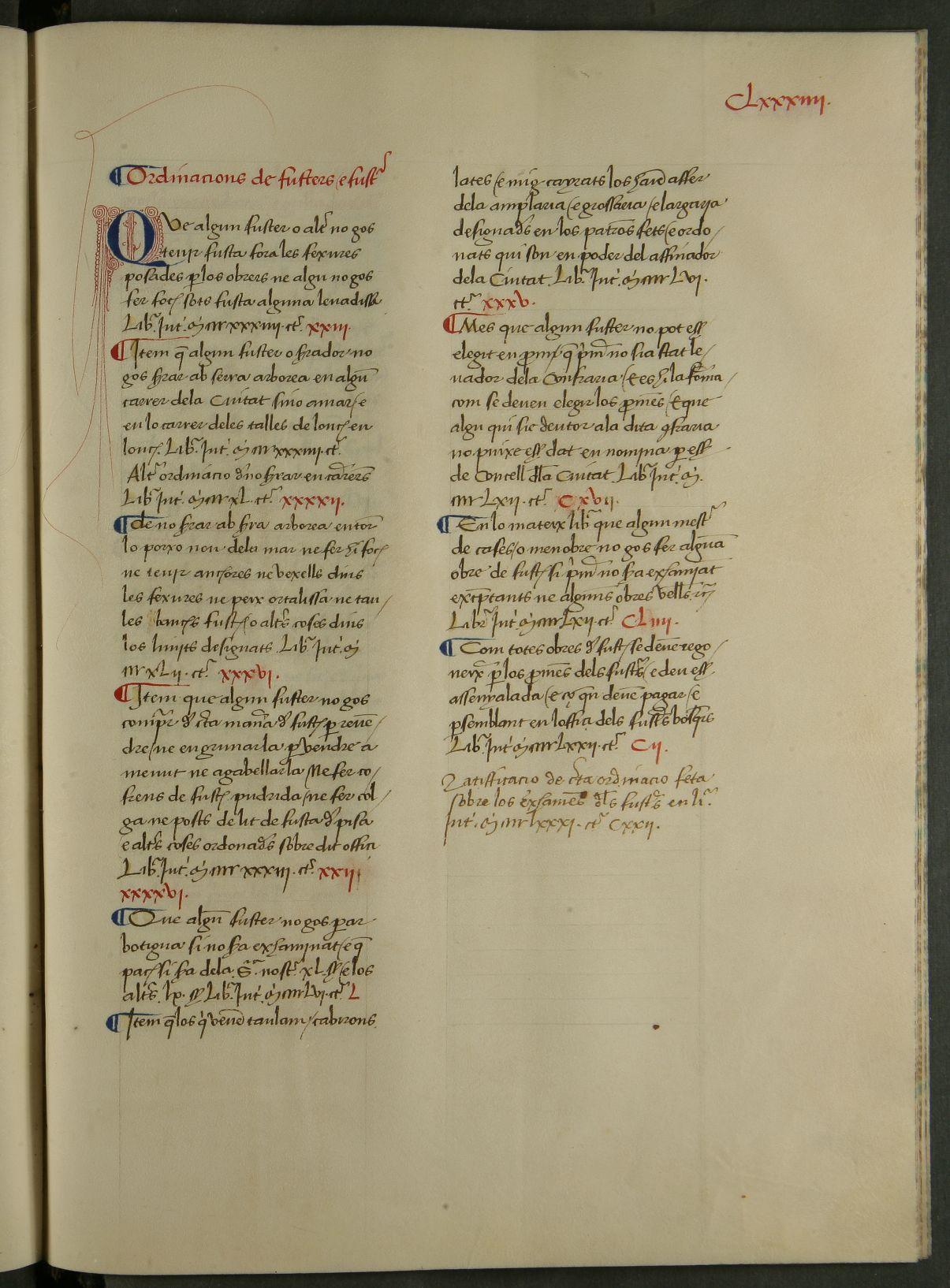 Ordinacions dels fusters. Rúbrica d'Ordinacions CCAM 01/1G-38 f.184r.(1296-1491)