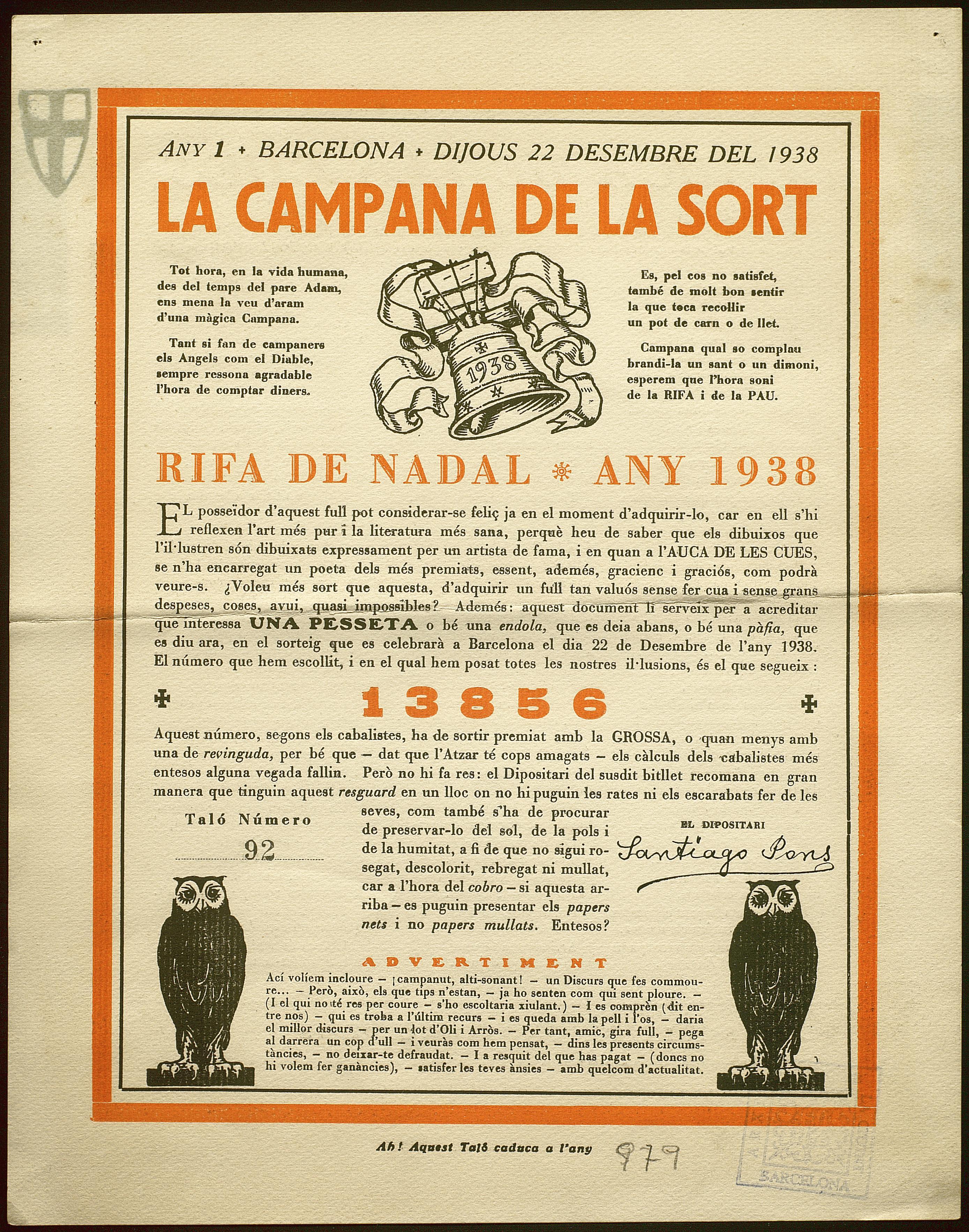 Participació humorística de la rifa de Nadal que es va celebrar a Barcelona el 22 de desembre de 1938 oferta  pel llibreter Santiago Pons Padrós.