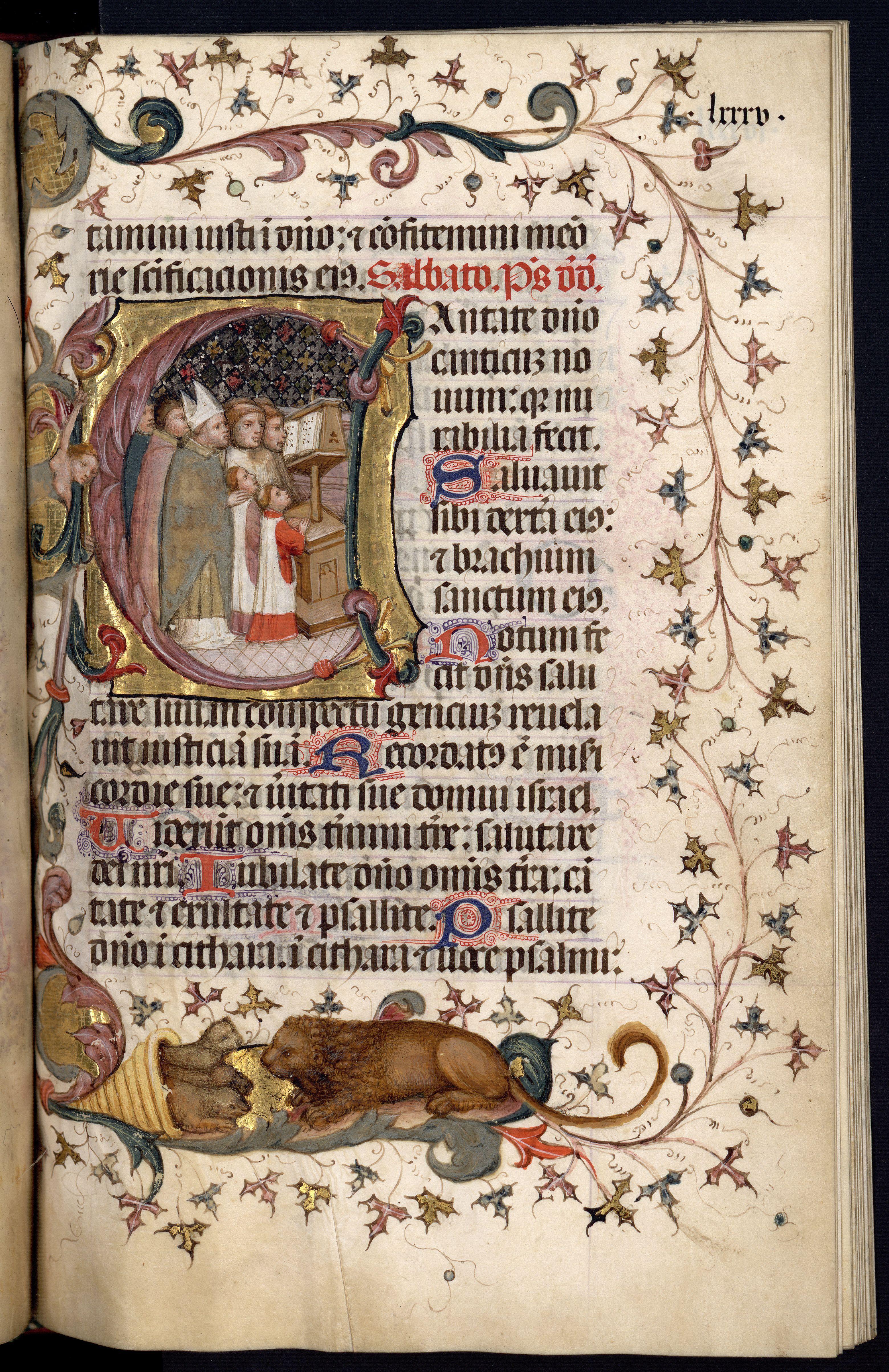 Moble faristol de fusta. Llibre d'hores il•lustrat per Pere Martorell, f.85r. AHCB4-236/C06-a398