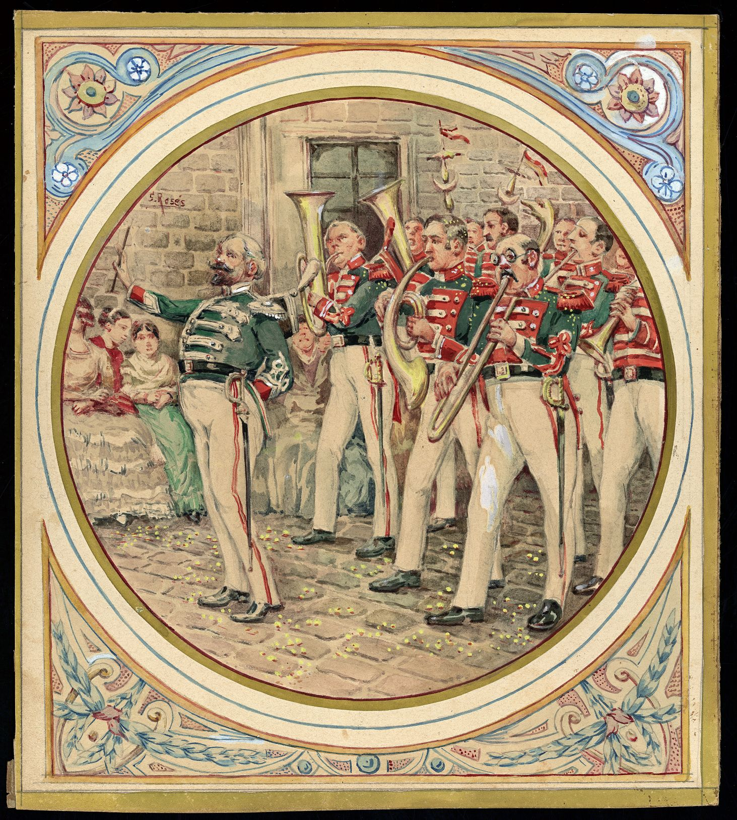 Desfilada de la banda municipal. Corpus 1840. AHCB Dibuix S. Rosés. AHCB 19013