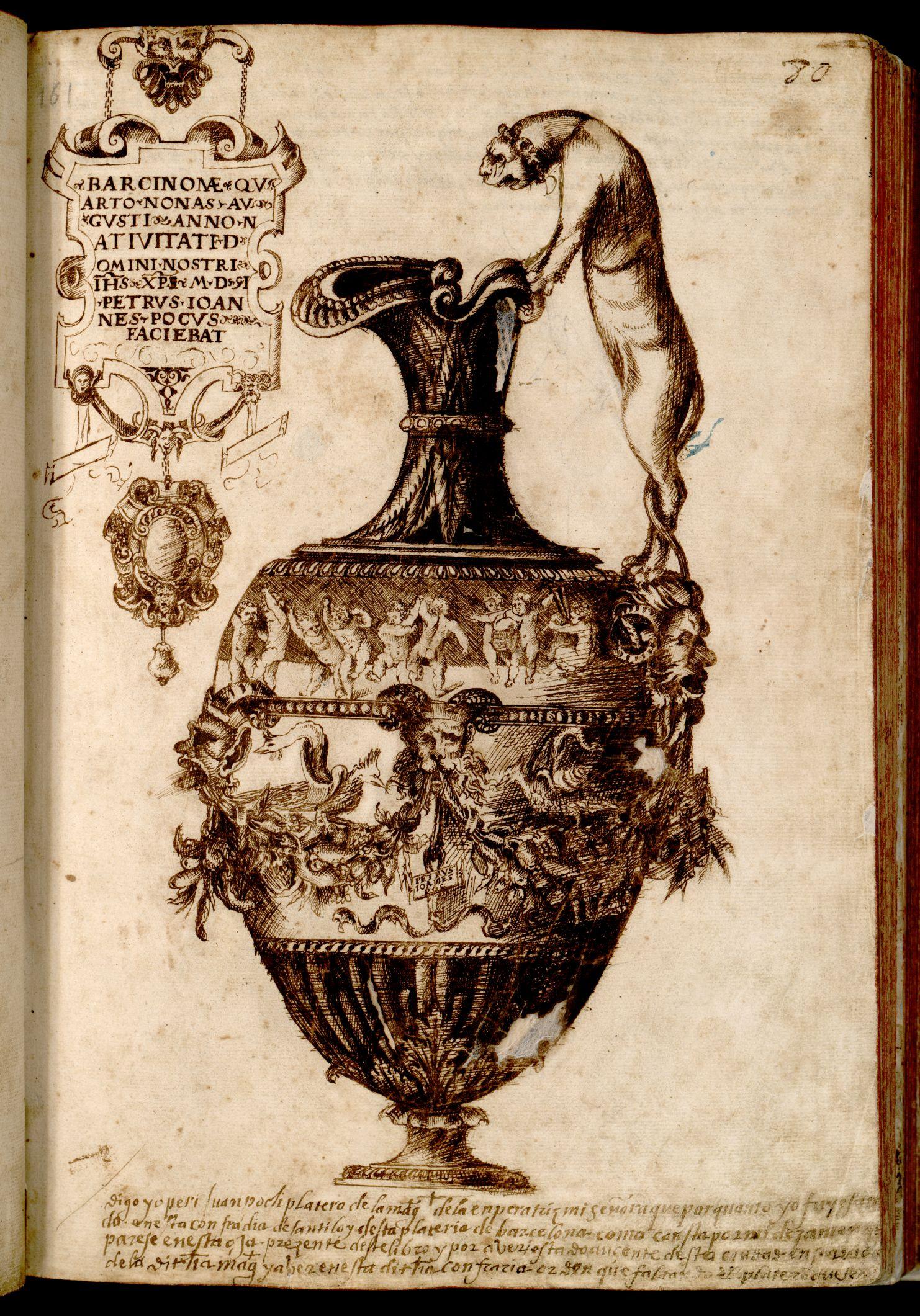 Gerra  de l'argenter J. Poch (1551) 5D131-15 Lllibre de passanties Vol. II (1532- 1629) fol. 80 r.