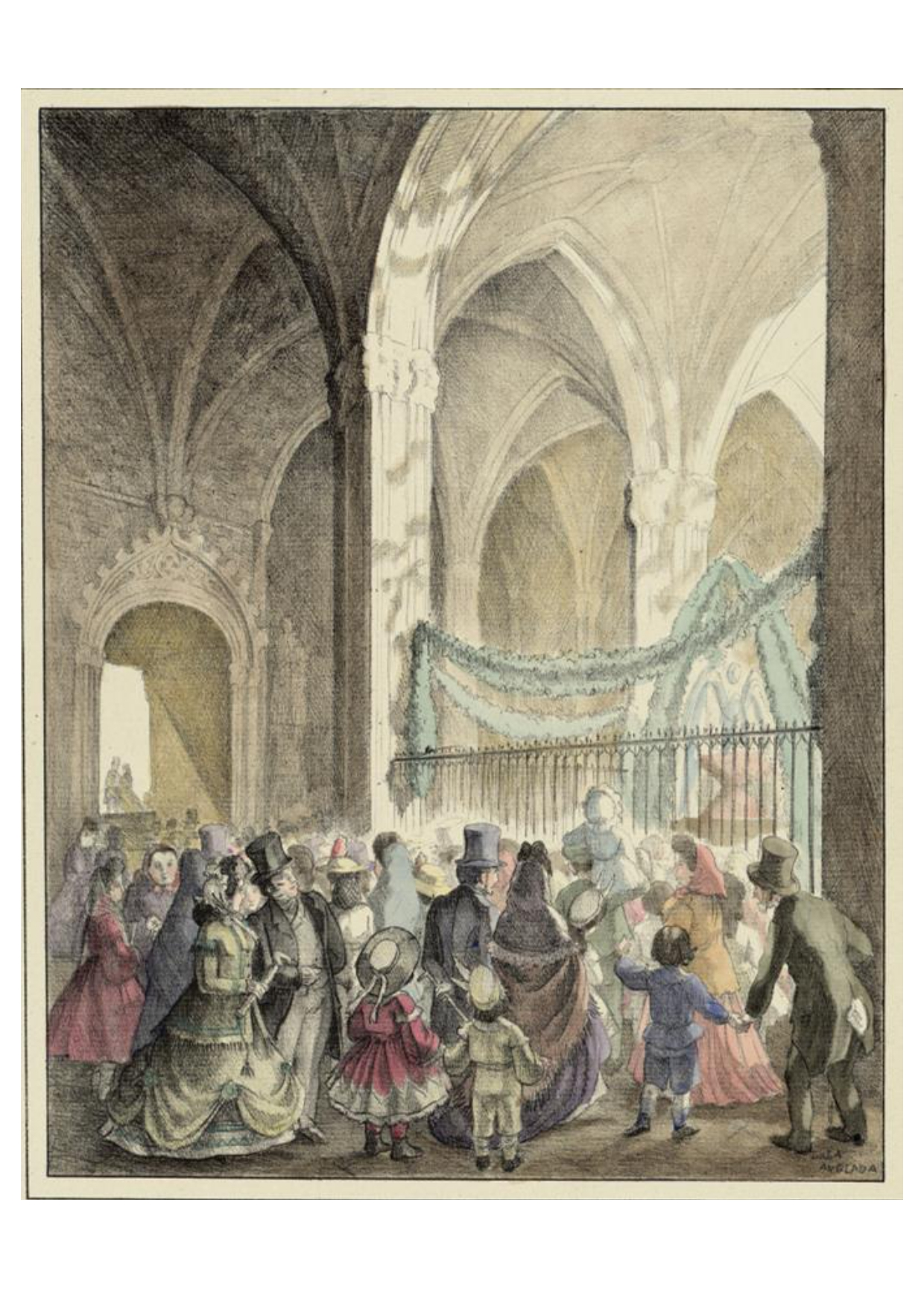 Claustre de la Seu en la festivitat de Corpus. Recreació del 1830. AHCB Dibuix L. Anglada. AHCB 11799 (5)