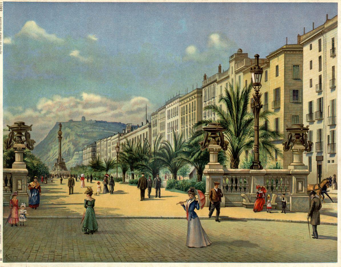 Vista general del Passeig de Colom amb la seva estàtua . Més enllà es distingeix la muntanya de Montjuïc. Autor: Carlos Kurz. AHCB.Gràfics.Ramon Soley. Núm. Inv. 18848.