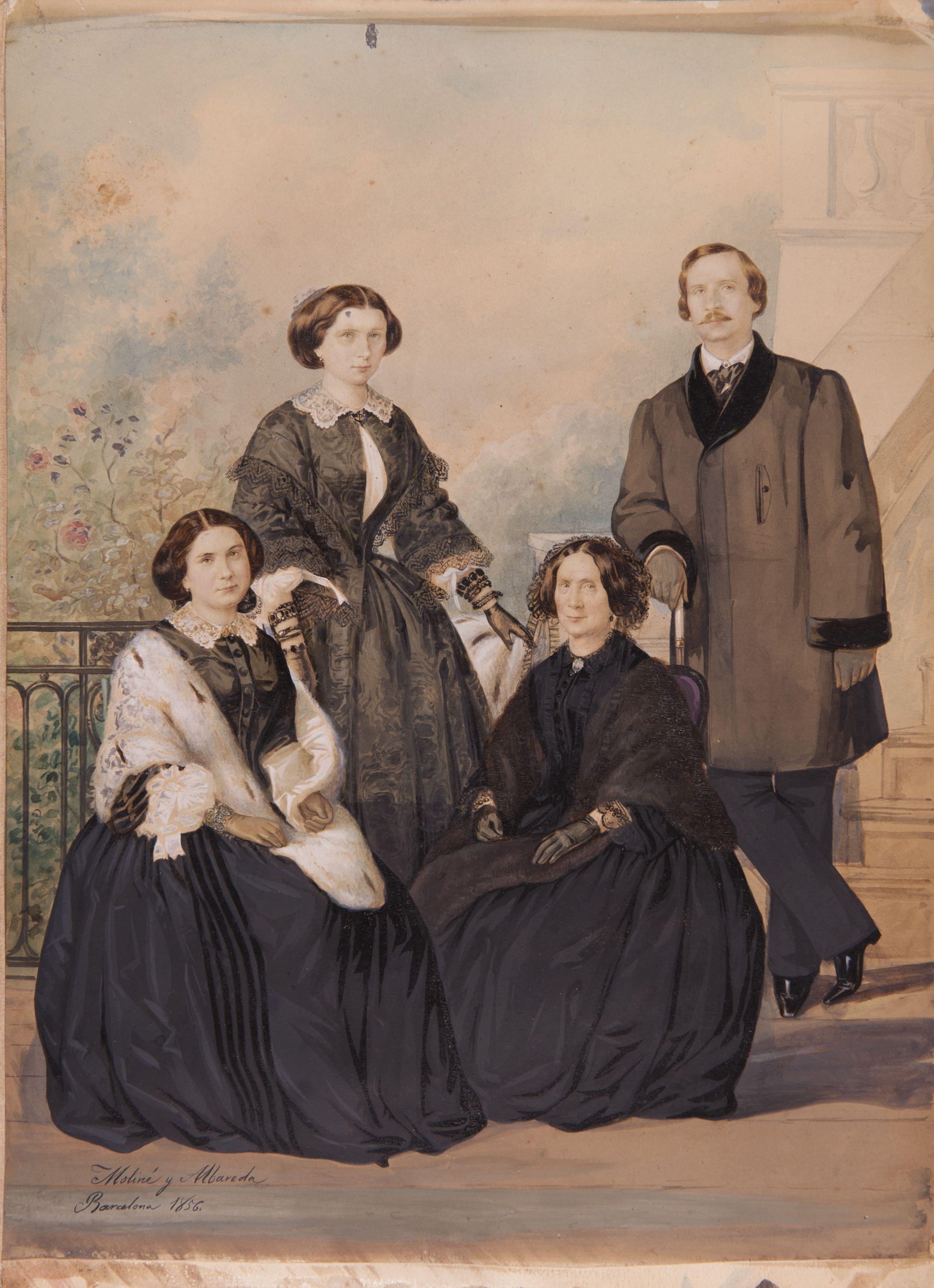 Retrat de la família Dodero. Aquesta còpia fotogràfica a l'albúmina acolorida és una de les fotografies més antigues conservades a l'Arxiu Fotogràfic de Barcelona, datada de l'any 1856 i obra de l'estudi Moliné i Albareda.