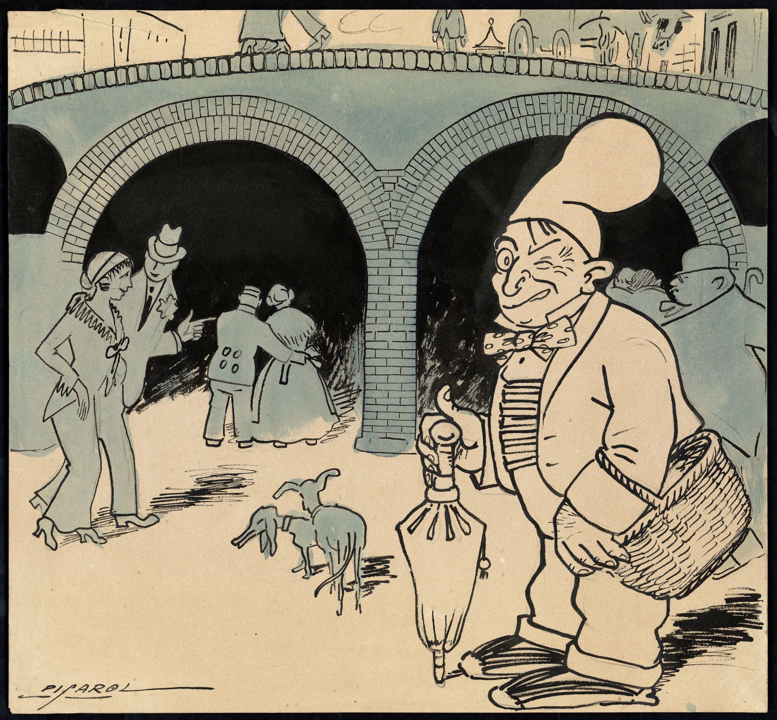 Visió satírica de les obres del nou ferrocarril subterrani de la ciutat, el futur metro, segons el ninotaire Picarol l'any 1913, publicada a L'Esquella de la Torratxa.