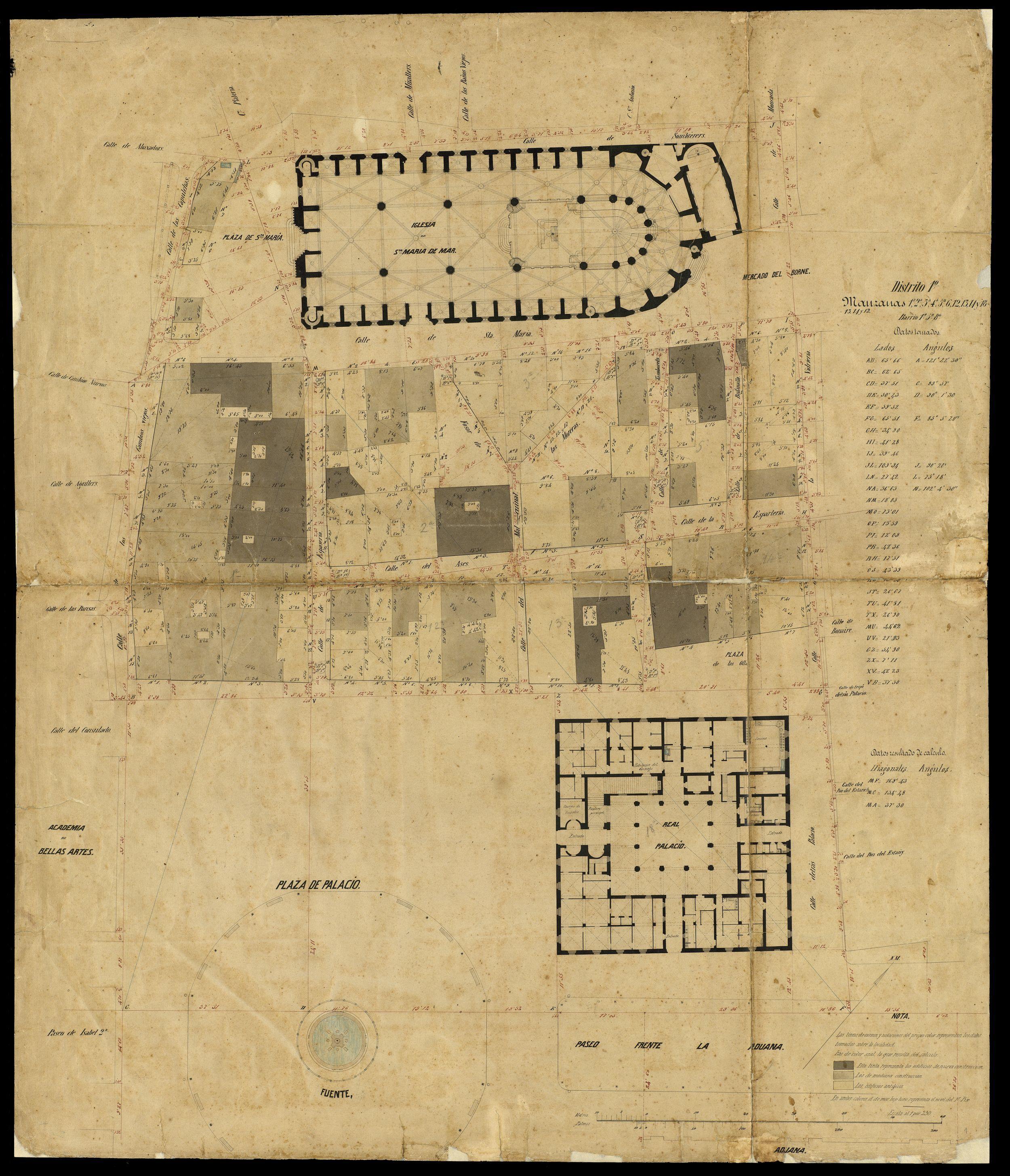 Planta de l'església de Santa Maria del Mar i els seus entorns urbans, projecte de l'arquitecte municipal Miquel Garriga i Roca, cap al 1860