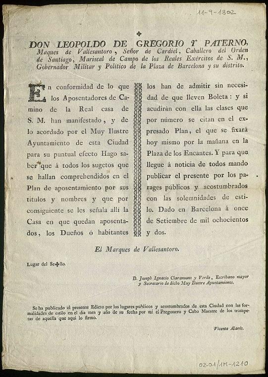 Text manuscrit del Edicte del Governador Militar i Polític de Barcelona (1802). On s'ordena als habitants que acullin els hostes encara que vinguin sense butlleta