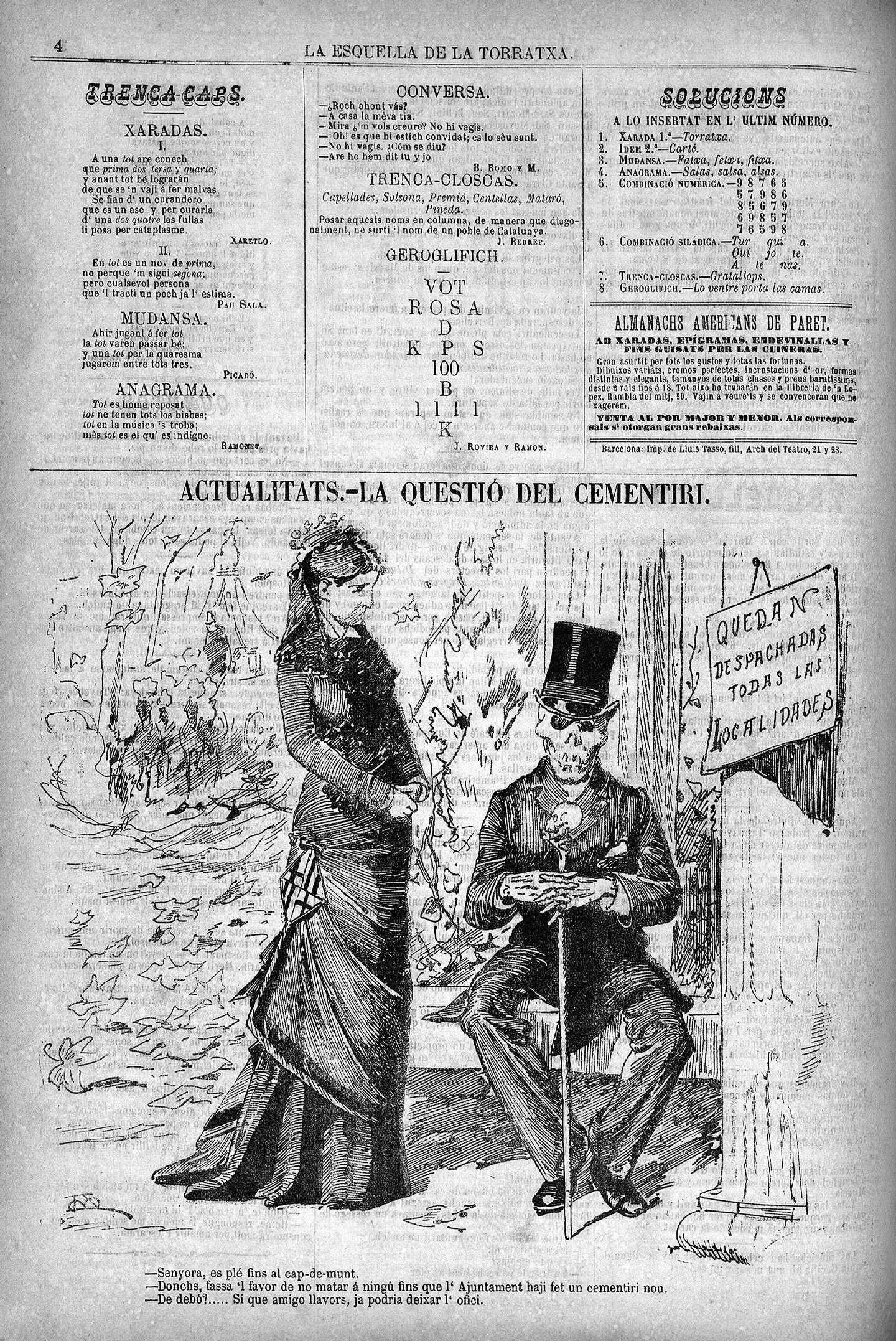 Esquella de la Torratxa, L'. Núm. 45, 29 novembre 1879, pàgina 4. L'al·legoria de la ciutat de Barcelona conversa amb la mort sobre la manca d'espai disponible als cementiris de la ciutat.